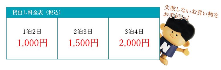 貸出し料金表(税込):1泊2日1000円 2泊3日:1500円 3泊4日:2000円